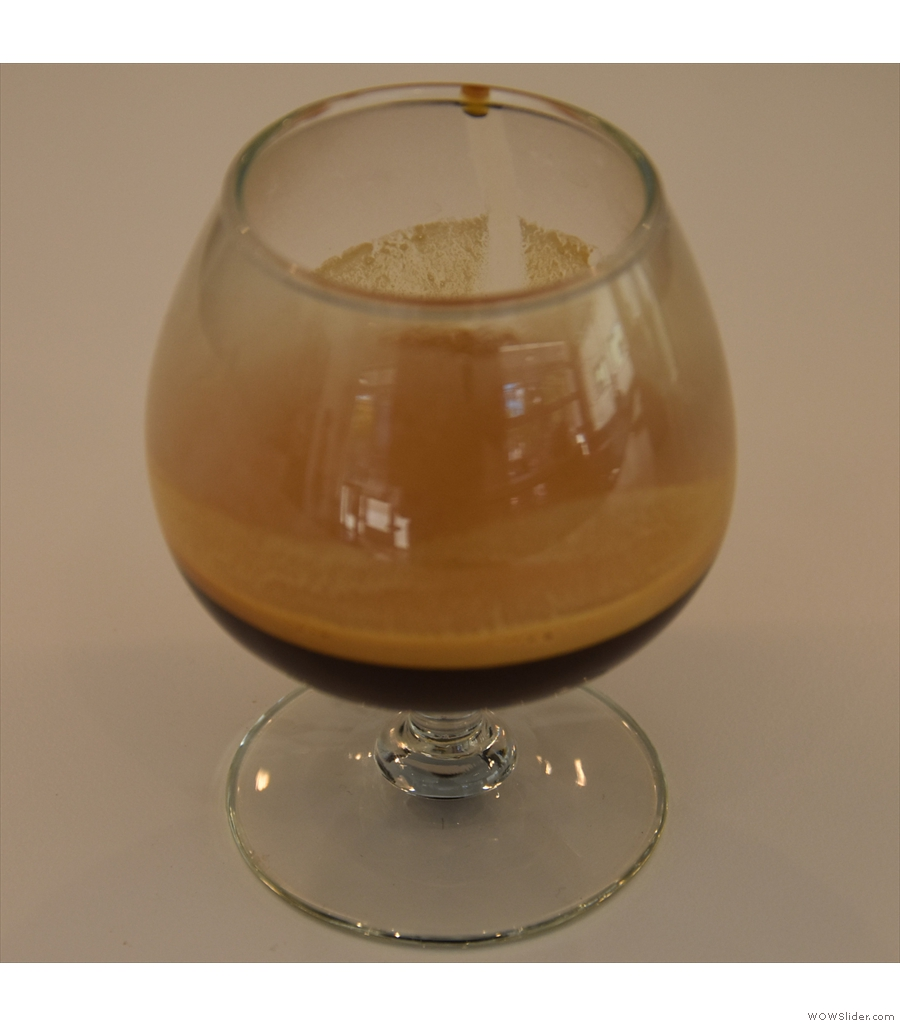 Madcap, Fulton, with an exclusive micro lot from El Salvador, served in this snifter glass.