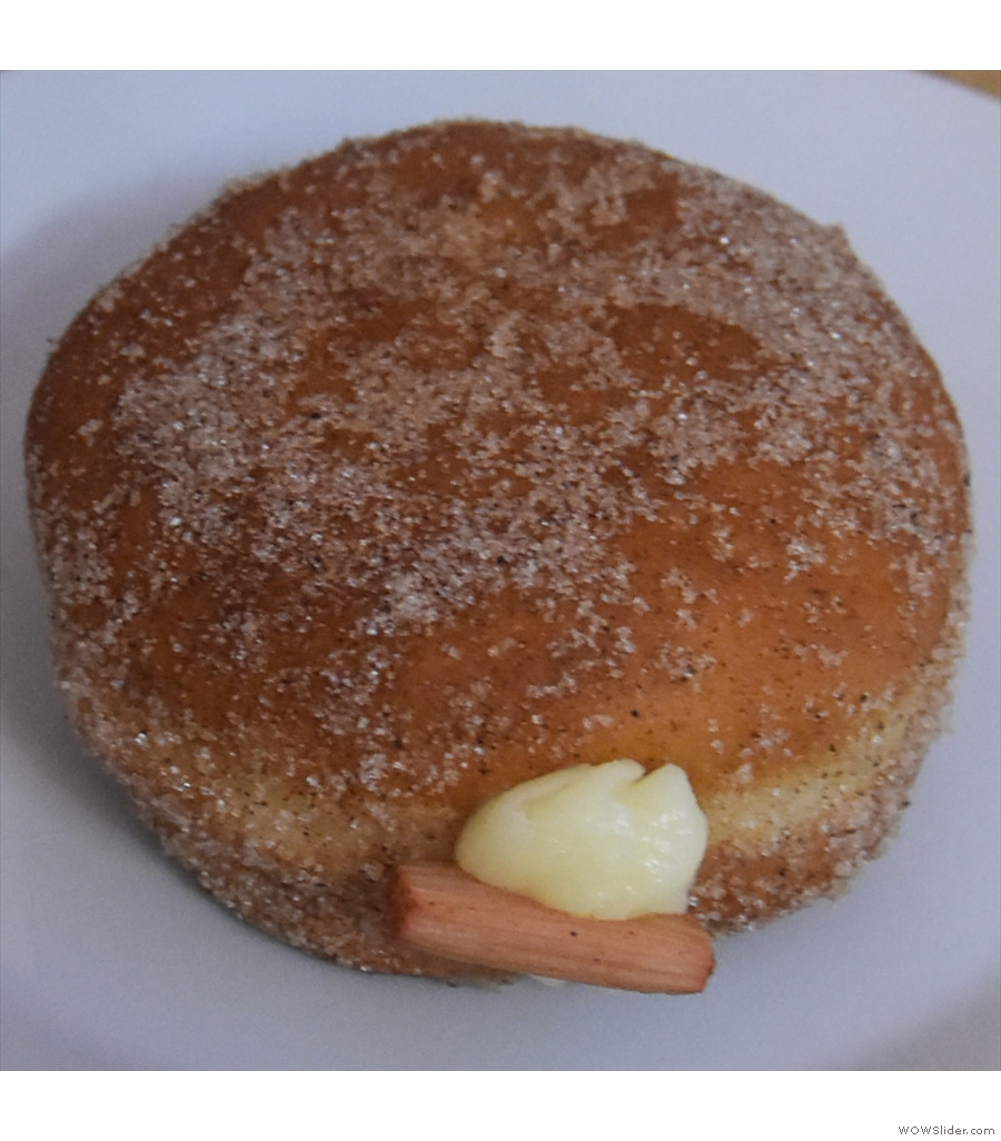 More doughnuts, this time from Prague's Donut Shop and its Boston Rhubarb doughnut.