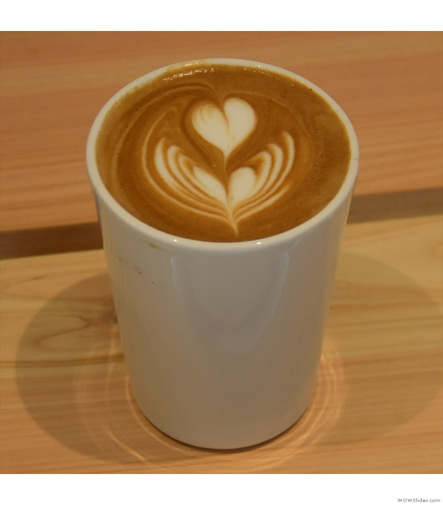 % Arabica, Xintiandi Plaza, with a latte made with a washed Ethiopian single-origin.