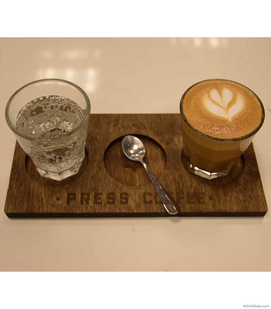 Press Coffee Waterfront, where I had the Ethiopian Kochere Chelelektu in a lovely cortado.