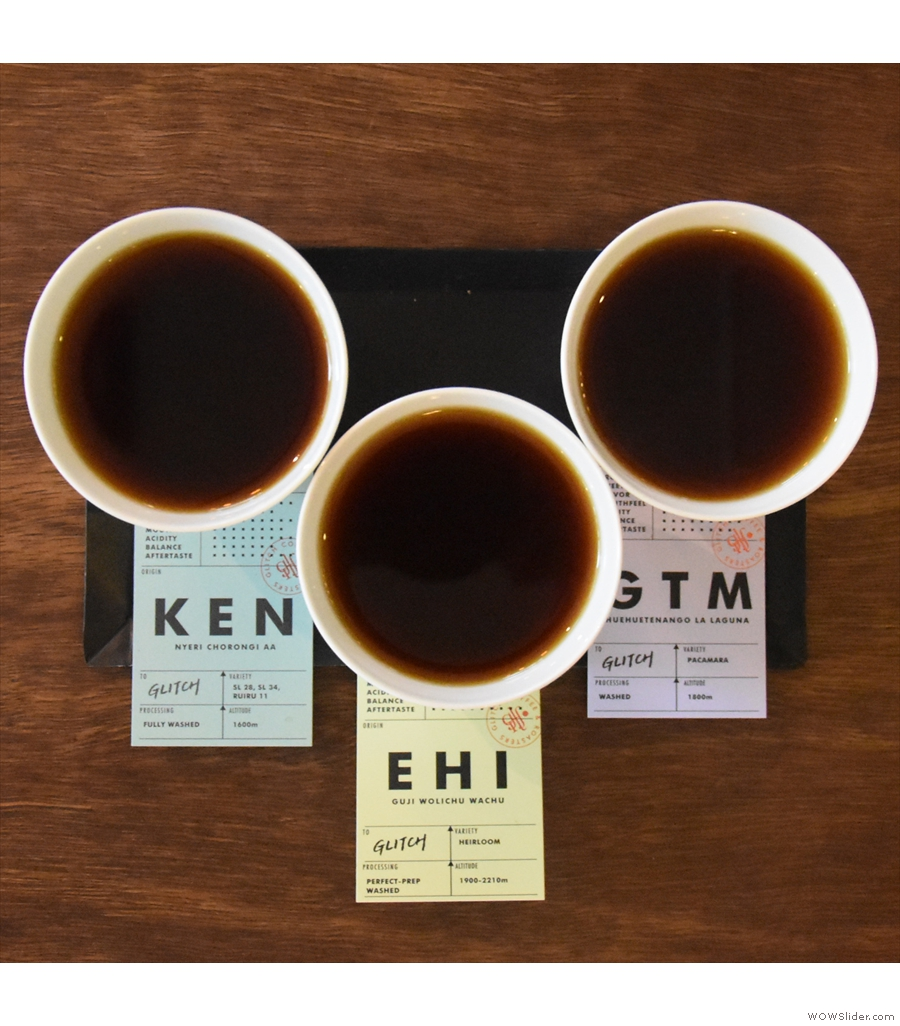 Tasting Flights at Glitch Coffee, serving this year's Best Filter Coffee.