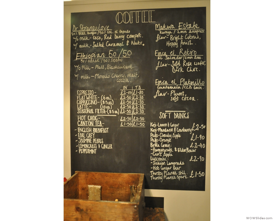 Wild At Heart's impressive coffee menu