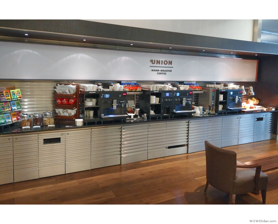 In fact, there are two areas, since the food section also has a coffee bar.