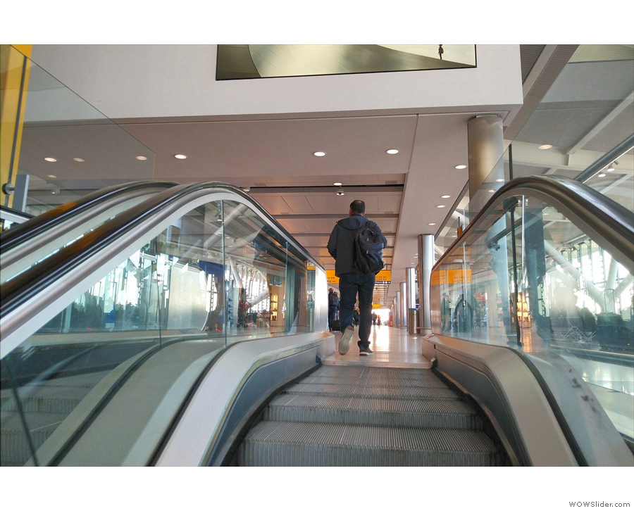 From there, it's back up the escalators, all the way to the departure gates at the top.