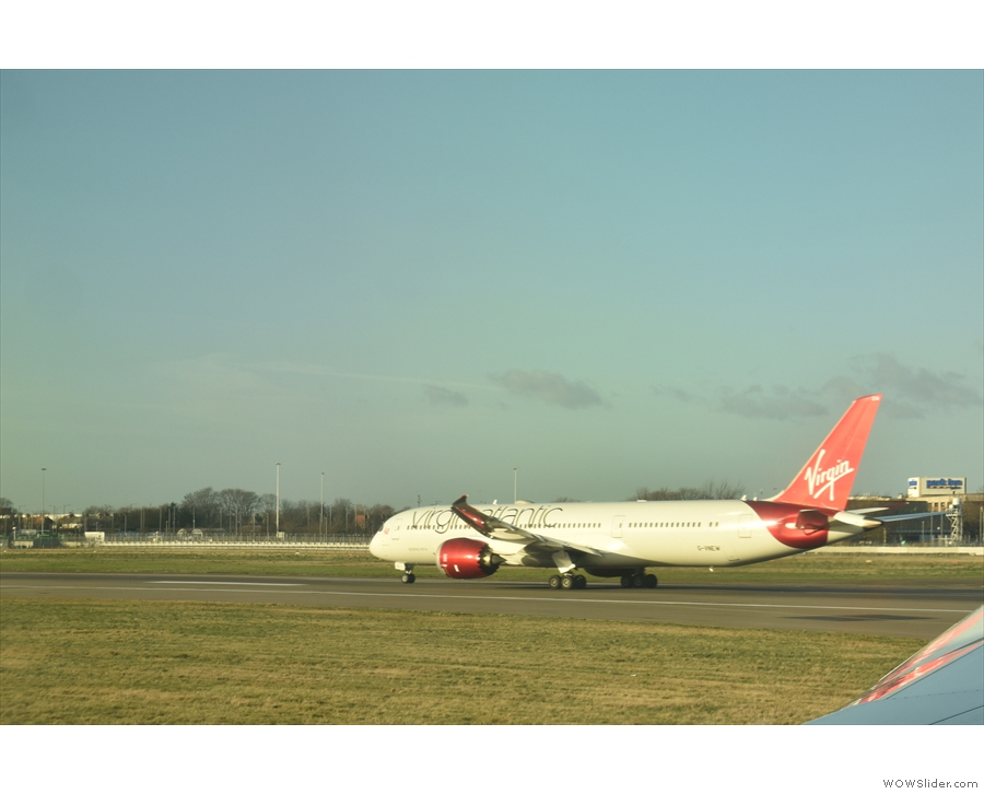We passed all sorts of airlines on the runway. Here's a Virgin Atlantic plane...
