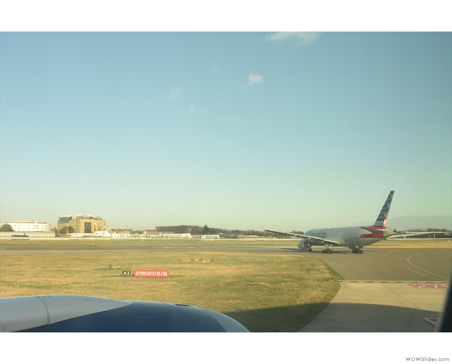 Then we reached the end of the runway, with just this American Airlines plane ahead.