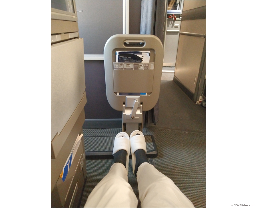 It's a bulkhead seat, so there's plenty of legroom, slightly more than a regular seat.