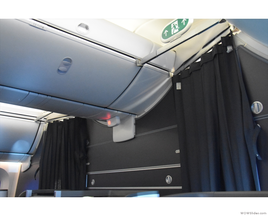 However, once we've taken off, the divider is closed and the curtains drawn for privacy.