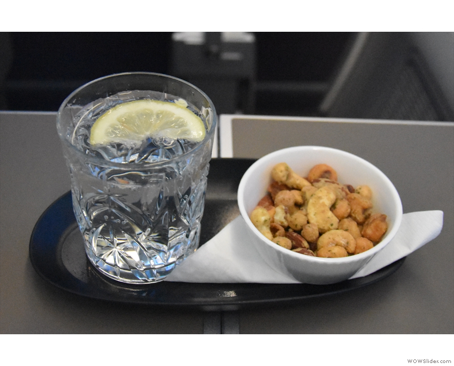 ... which is when the welcome drink and nuts arrived.