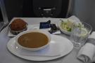 Lunch arrived, with my starter of soup...
