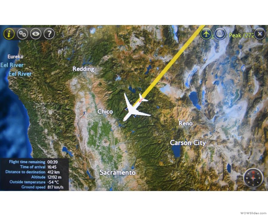 Finally, crossing the Sierra Nevada, the clouds below broke...