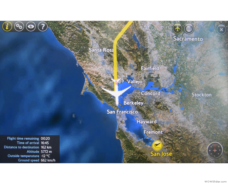 We turned north of San Francisco to start flying due south and straight over the city.
