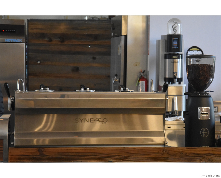 This will take you past the gleaming Synesso espresso machine...