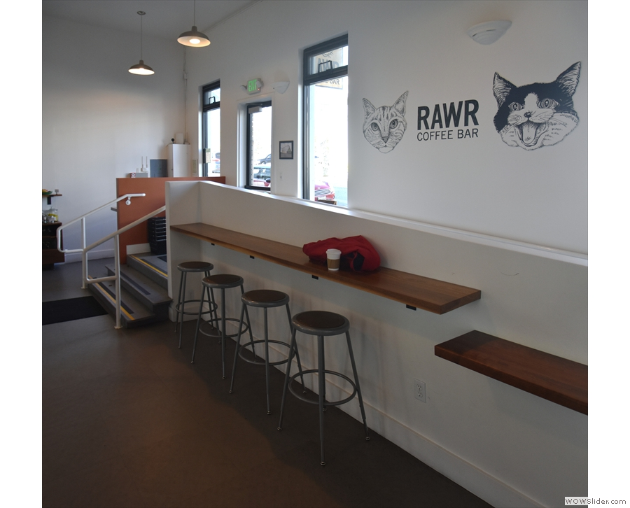 The view back along the RAWR Coffee Bar from the door, with the seating to the right...