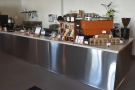 Down to business and the gleaming, stainless steel counter.