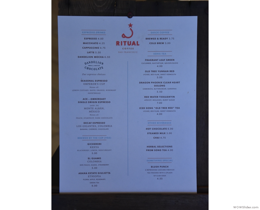 A more detailed look at the menu.