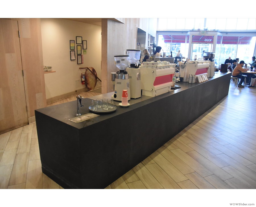 A view of the counter from the far end.