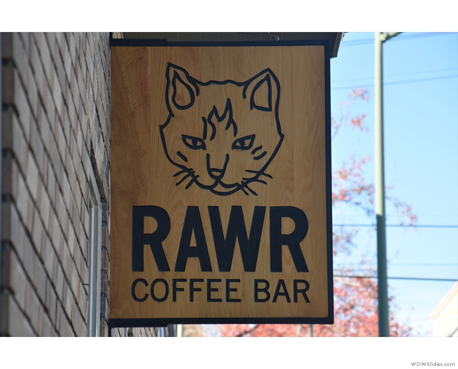 ... where you'll find the RAWR Coffee Bar at the far end. The entrance to Cat Town is...