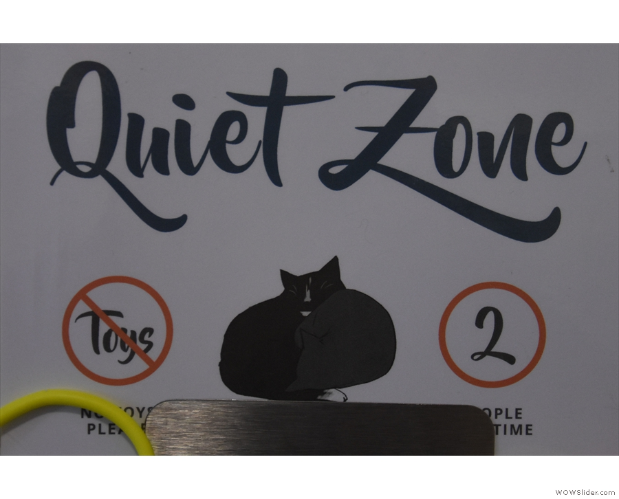 Next to the main room is the quiet zone. Designed to give the cats some peace and quiet...