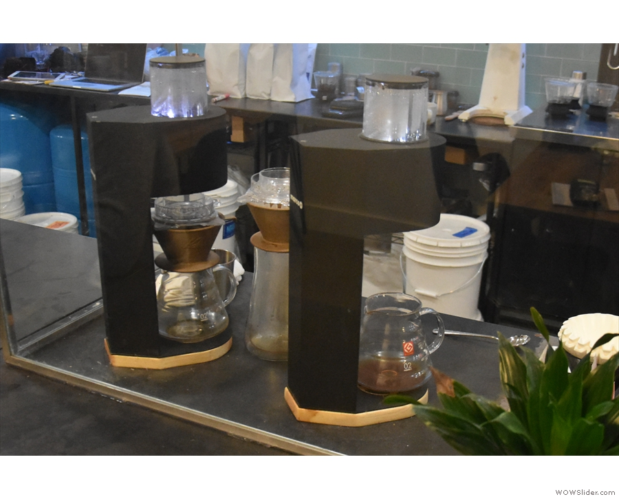 Mythical Coffee uses the Marco SP9 automatic pour-over machines to do its pour-over.