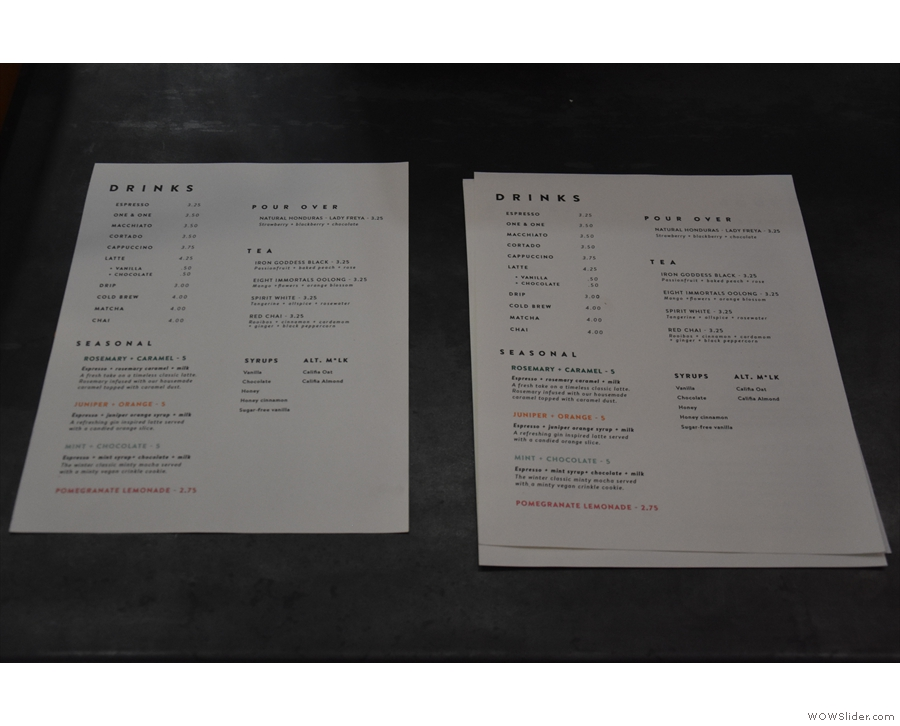 ... and more detailed menus on the counter top...