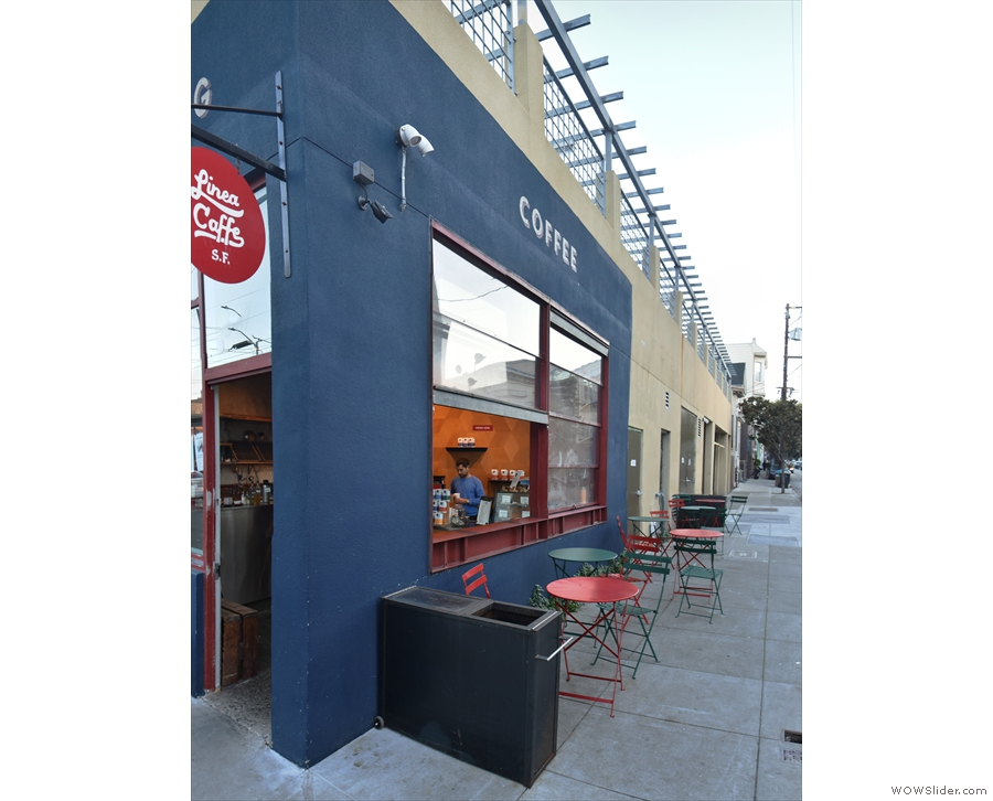 The seating, however, extends along San Carlos Street beyond the back of the store.