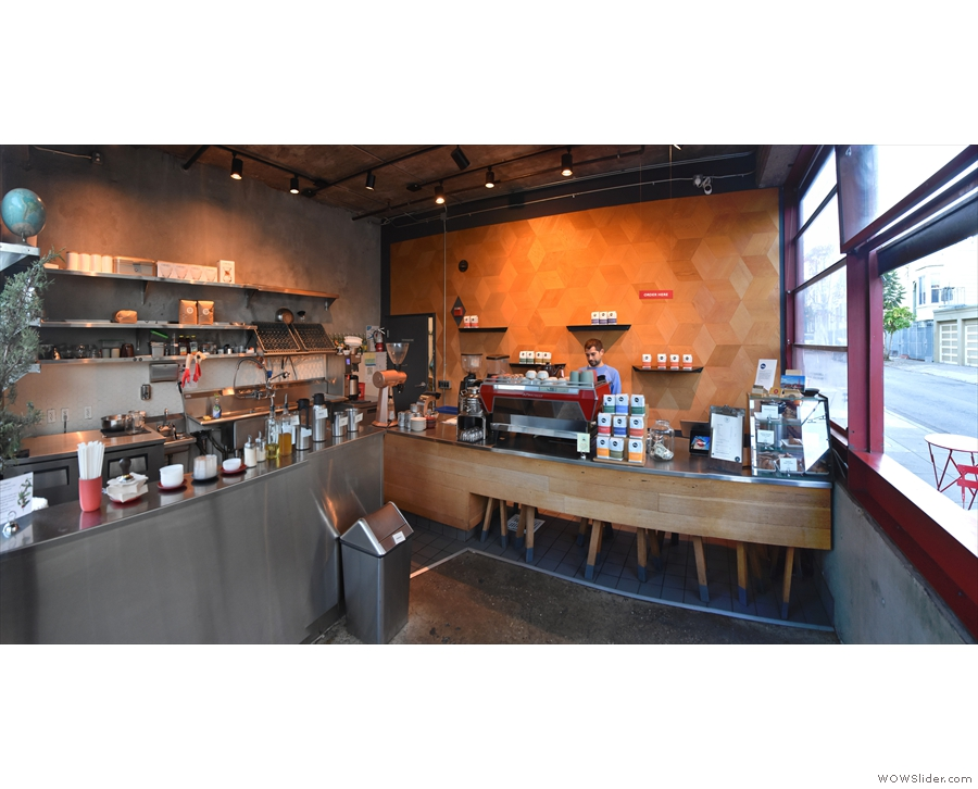 A panoramic view from just inside the door, where Linea Caffe is dominated by its counter.
