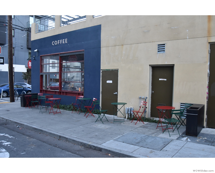 Linea Caffe extends along San Carlos St, where you get this view coming the other way.
