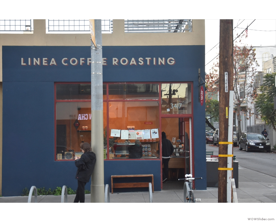 On 18th Street in The Mission, it's Linea Caffe (regardless of the writing up top!).
