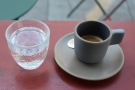 On my return last week, I had an espresso, served with a glass of sparkling water.