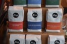 The full range of Linea's coffee is for sale next to the till.