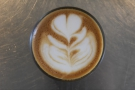 Another view of my cortado and its latte art.