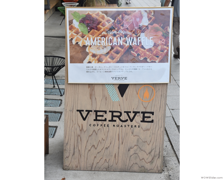 The A-board proudly proclaims American waffles on one side...