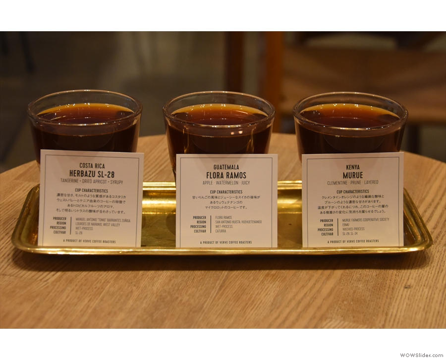 I also had the filter tasting flight, being able to select three of the five single-origins.