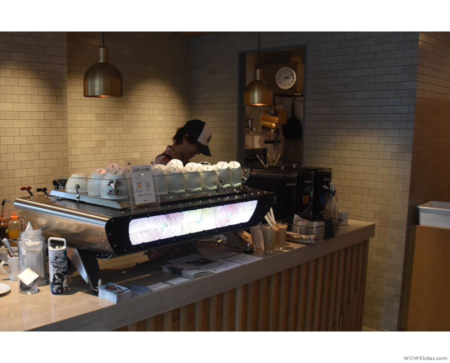 Finally, at the far end, there's the Kees van der Westen espresso machine...