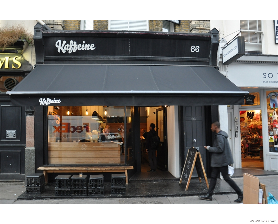 Kaffeine, one of the London vanguard both in looks and in coffee