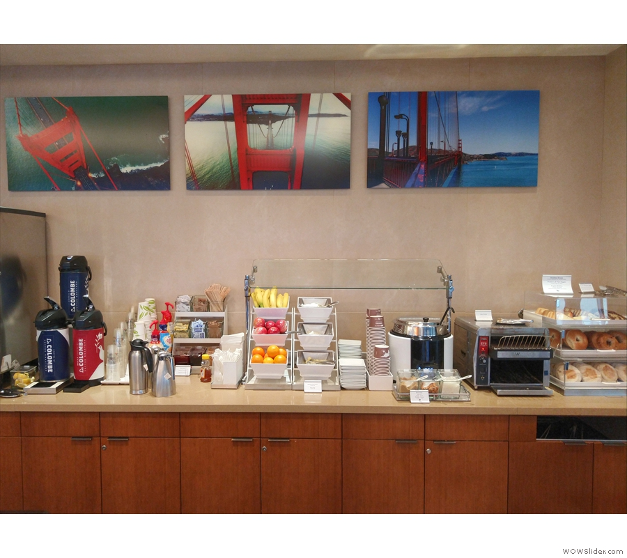 There's also a breakfast buffet bar, with toast, pastries and the like, while beyond that...