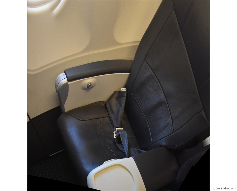 My first class seat, 1F, right at the front of the plane.
