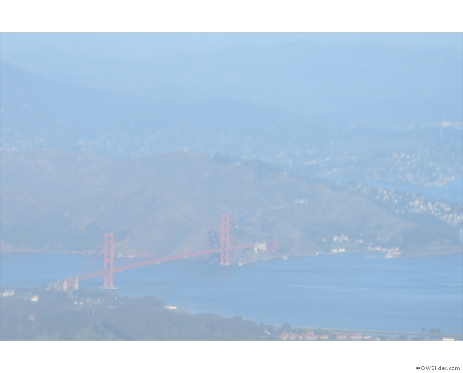 From the Bay Bridge to the Golden Gate Bridge (maximum zoom). We continued turning...