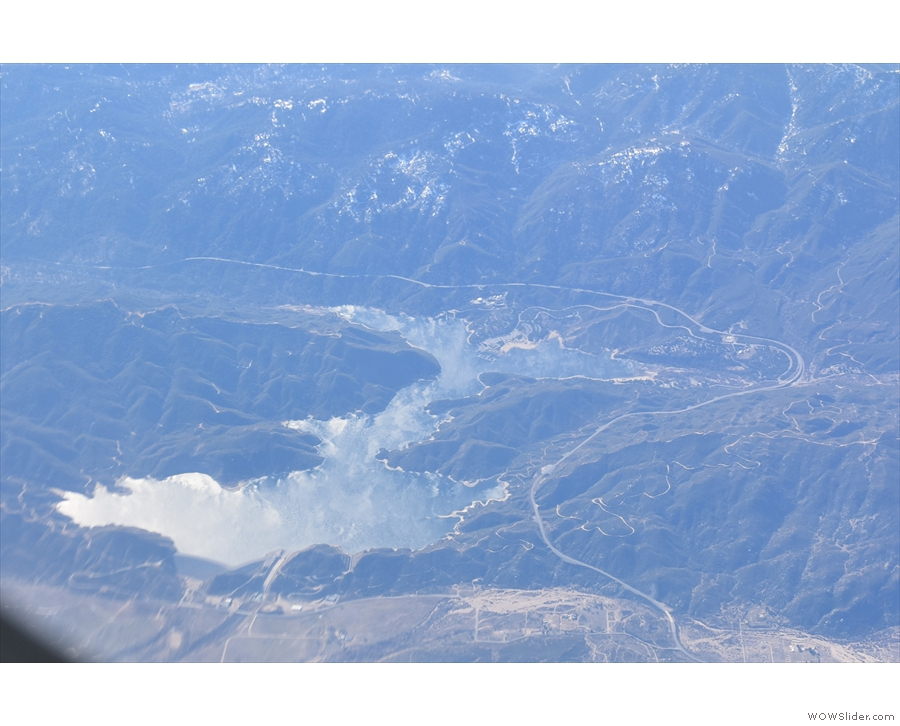 I'm going to take a punt and say that's Silverwood Lake, with San Bernardino beyond.