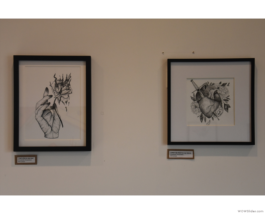 There are also framed drawings by artist Elizabeth Brambert, who is a barista at Driftwood.