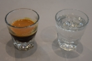 Turning to coffee, I decided to have an espresso, served with a glass of sparkling water.