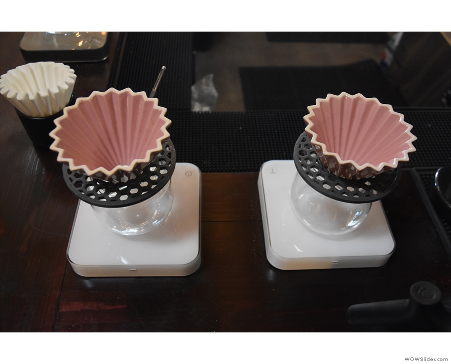 Pair uses the most delightful ceramic drippers (Origami from Kurasu).