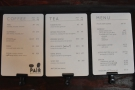 Down to business. Pair's delightfully concise menu is on the counter top...