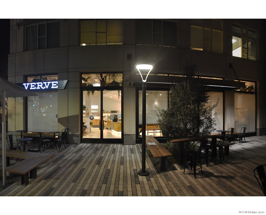 The view looking at the side of Verve, where there's a door, leading directly to the counter.