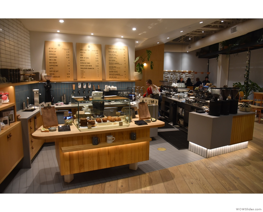 ... at the end of which is the counter, at an angle to the front of the store.
