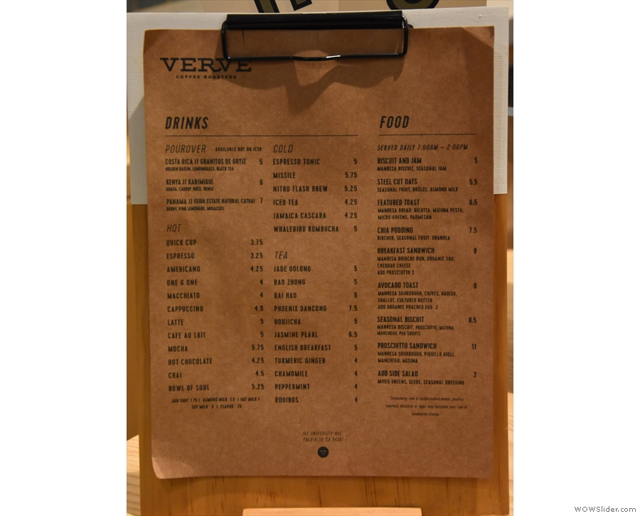 A more detailed menu, including the current single-origin filter choices, is on the counter.