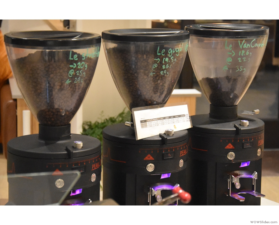 Each has three grinders: Streetlevel blend, single-origin & decaf, with recipies marked on.