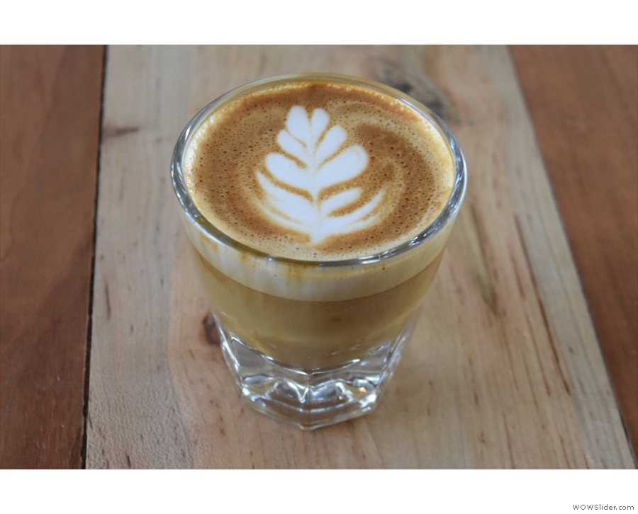 I started off with a lovely cortado, made with the Cascades blend, which I had...
