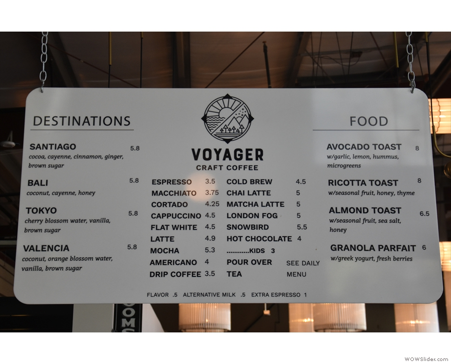 Instead the menu hangs on a board above the counter...